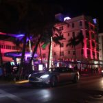 Jaguar in front of Mangos Ocean Drive