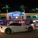 White Mercedes on Ocean Drive South Beach, Miami