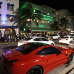 Ferrari in front of the Pelican Hotel, Ocean Drive, South Beach